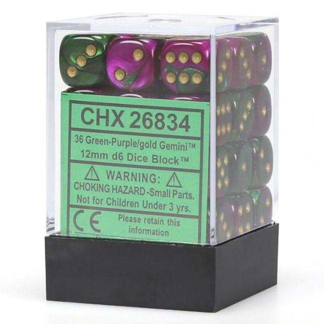 12mm 36 Dice Set Gemini Green Purple Gold