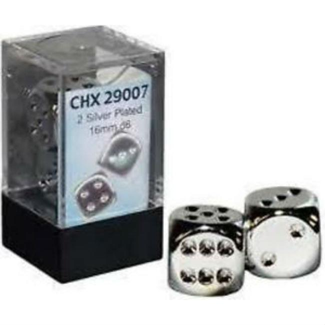16mm D6 2 Dice Set Silver Plated
