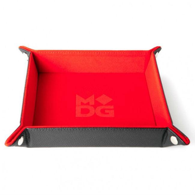 Folding Dice Tray Velvet 10×10 Red