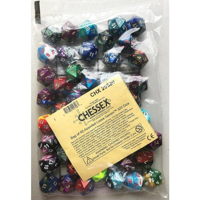Assorted Loose Gemini D20 Dice Accessories Chessex Manufacturing