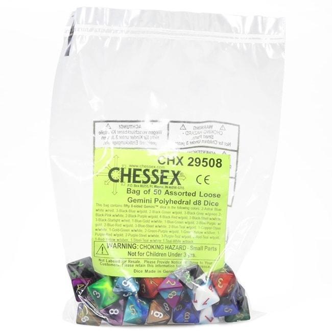 Chessex Manufacturing 29508 Gemini Poly D8 Assorted Dice, Bag – 50