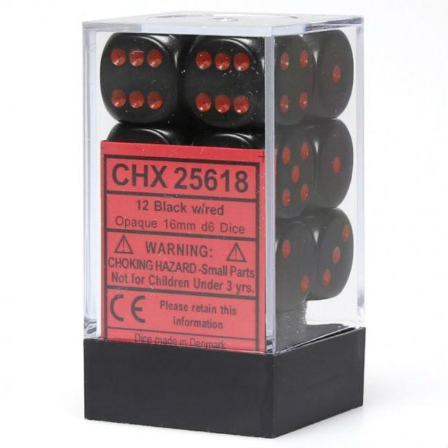 Chessex Opaque Black w/ Red Dice Set