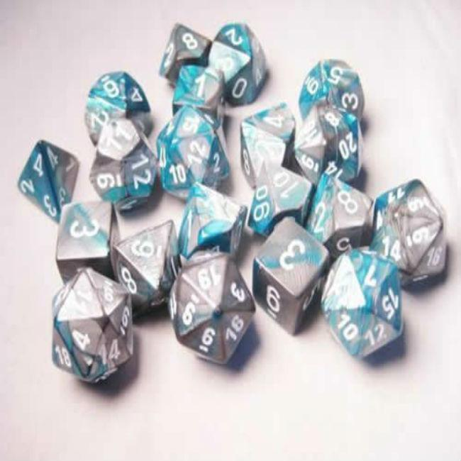 Chessex: Steel Teal with White Gemini Dice Set of 20