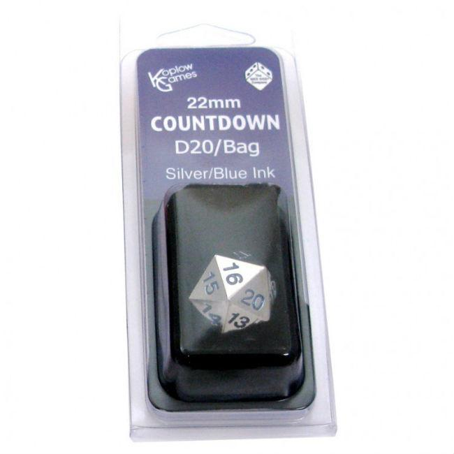 D20 Metal Countdown w/ Blue Numbers and Bag