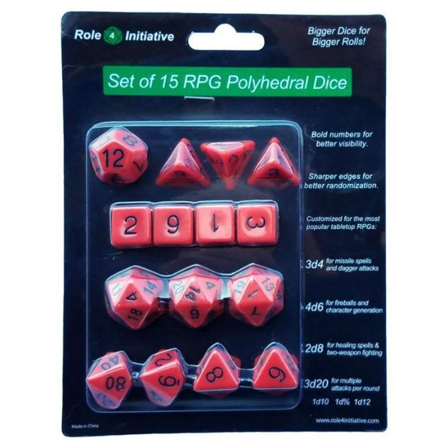 Dice Set of 15 Polyhedral Dice Opaque Red with Black