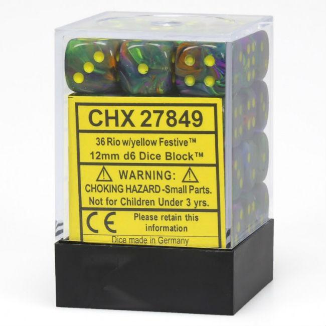 Festive Rio With Yellow Numbers Dice Set Accessories Chessex Manufacturing