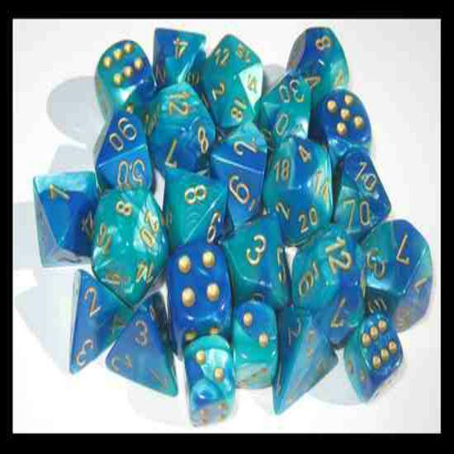 Gemini Dice: Blue/Teal with Gold (20)
