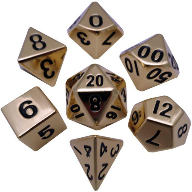 Gold 16mm Polyhedral Metal Dice – Set of 7