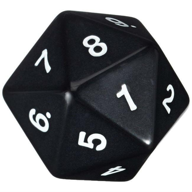 Jumbo Dice: Opaque Black with White Numbers Accessories Koplow