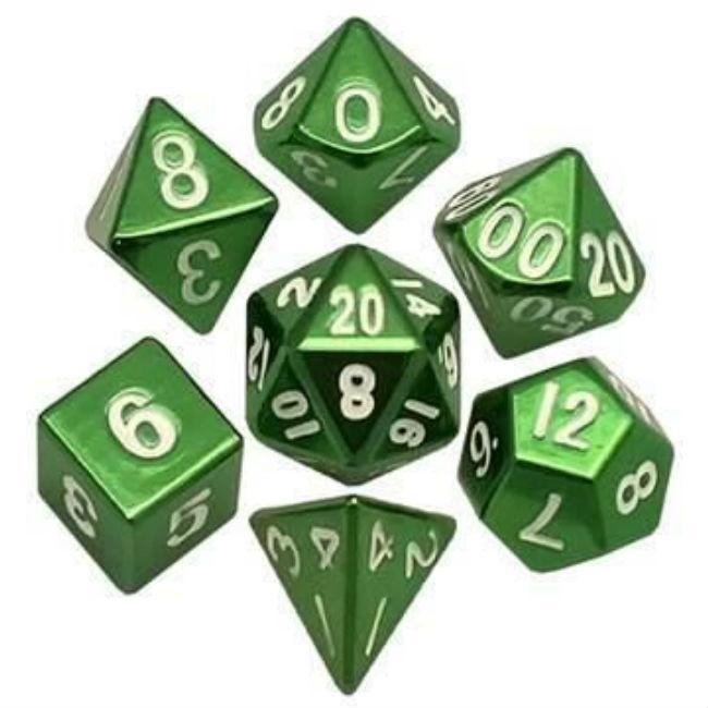Metal Dice Painted Polyhedral Dice Set – Green