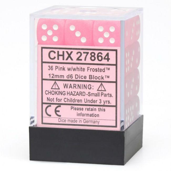 Pink Frosted Dice With White Pips Dice
