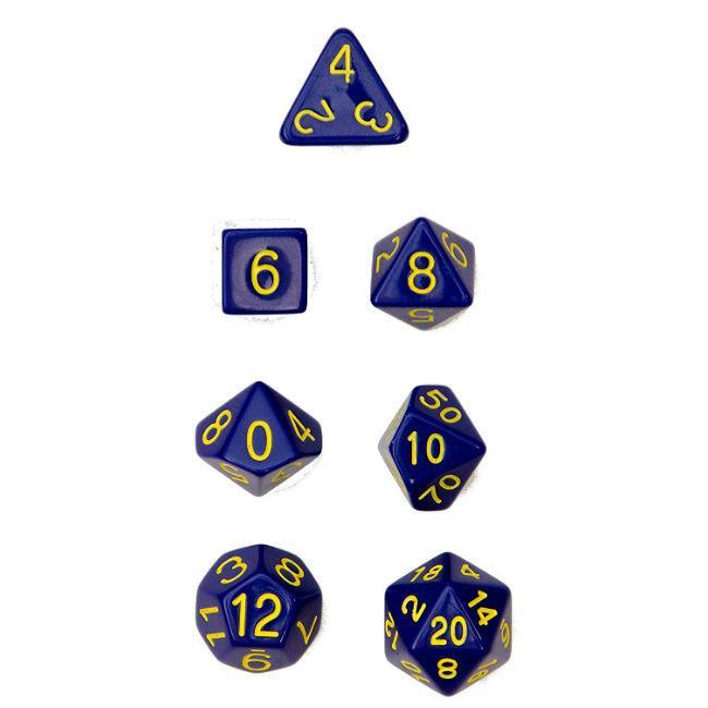 Polyhedral Dice: Opaque Dark Blue/Gold