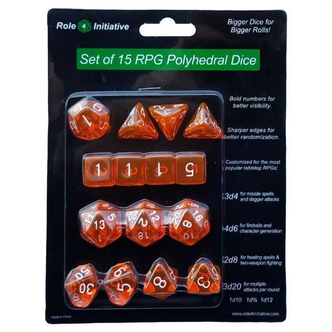 Polyhedral Translucent Orange with White Numbers Dice