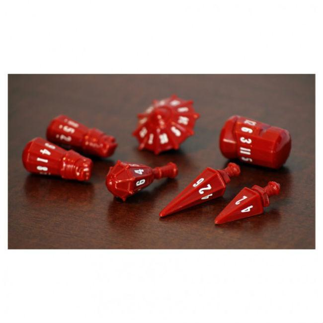 PolyHero Dice: Warrior Set Crimson with Bone White Accessories Game Salute