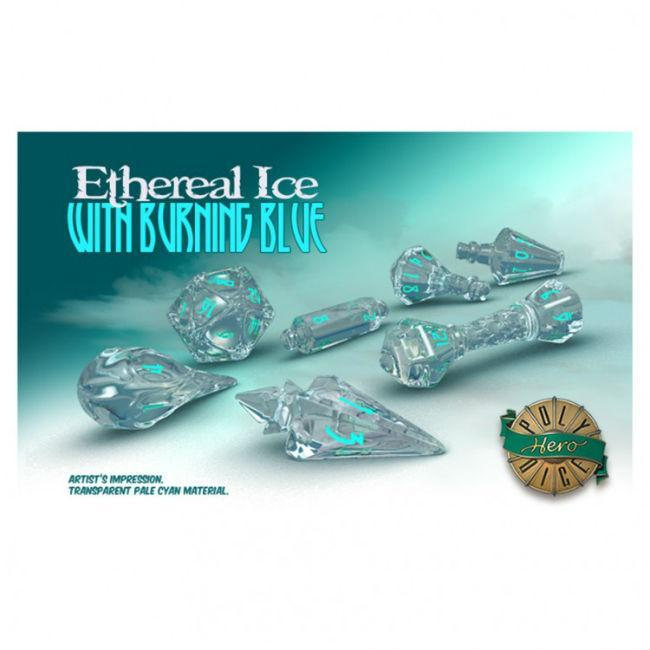 PolyHero Dice: Wizard Ethereal Ice/Blue Accessories Game Salute