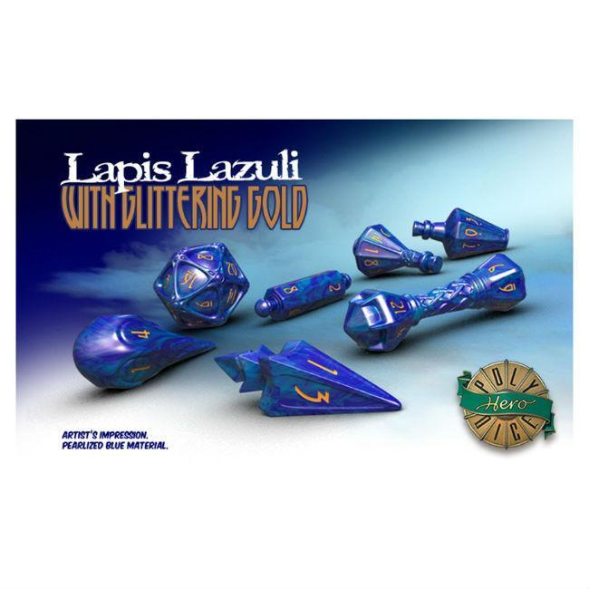 PolyHero Dice: Wizard Lapis Lazuli Gold Dice Accessories Game Salute