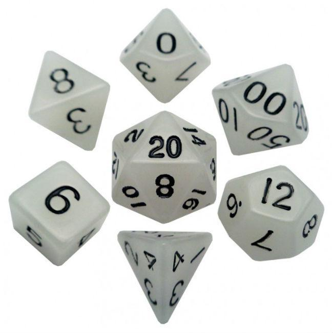 Resin Dice: Glow Clear with Black Numbers