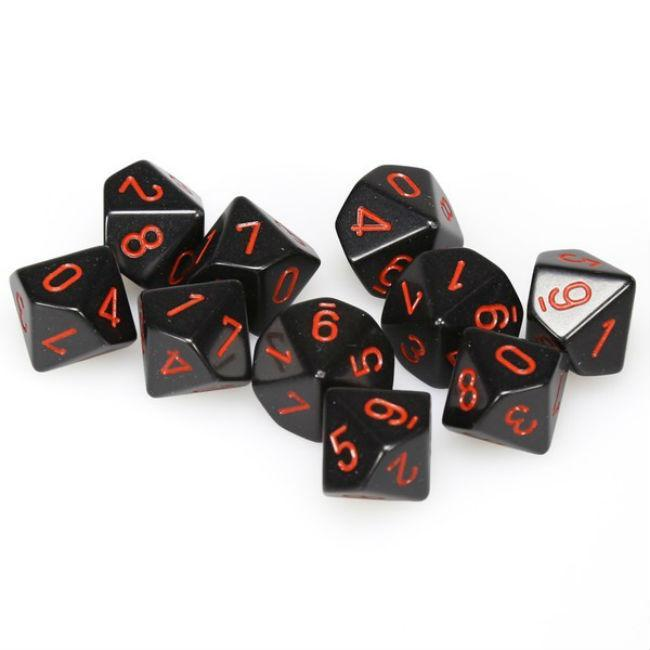 Set of 10 D10 Dice: Black & Red Accessories Chessex Manufacturing
