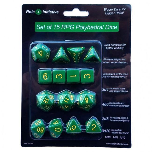 Set of 15 Large High-Visibility Polyhedral Dice Opaque Dark Green with Gold
