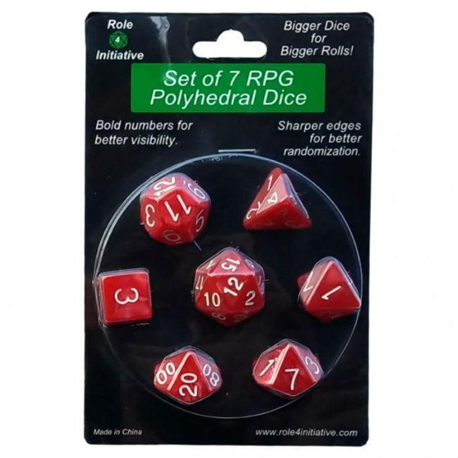 Set of 7 Large Polyhedral Dice: Marble Red with White Numbers Accessories Role 4 Initiative
