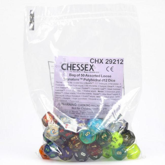 Signature Polyhedral Assortment Dice Bag Accessories Chessex Manufacturing