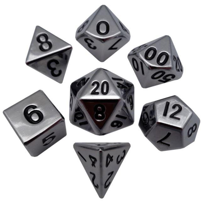 Silver 16mm Polyhedral Metal Dice – Set of 7