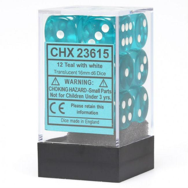 Teal With White Translucent Dice Set