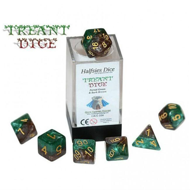 Treant Halfsies Dice: Forest Green & Bark Brown Accessories Gate Keeper Games